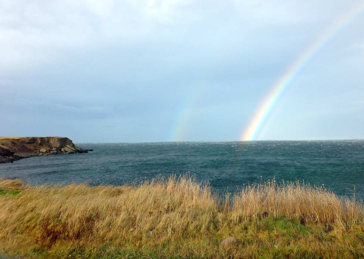 Double rainbow at the end of Cheticamp Island…where the whales play.