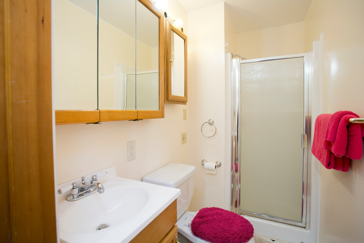 There is a bathroom on the lower level across the living room from the Princess Suite.