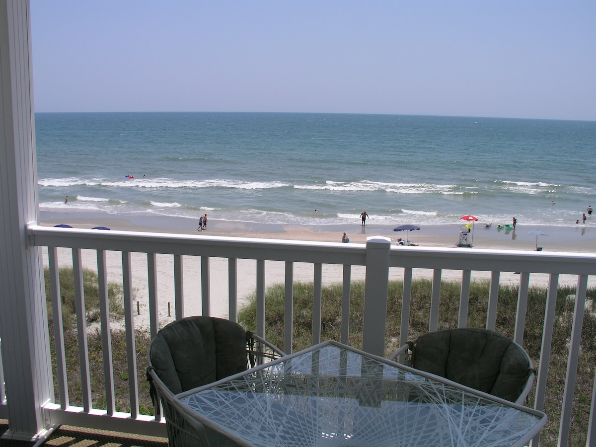 Looking east from our beautiful ocean front balcony.