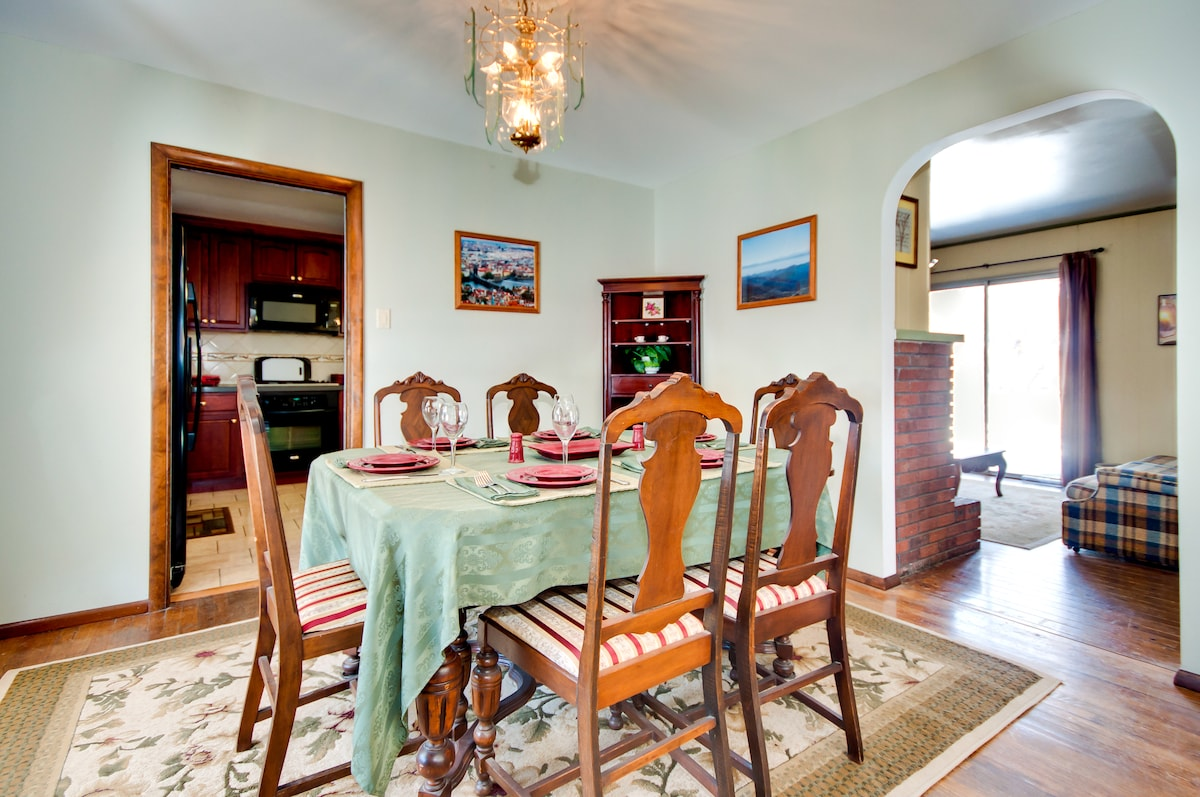 Dining room with view of kitchen and family room