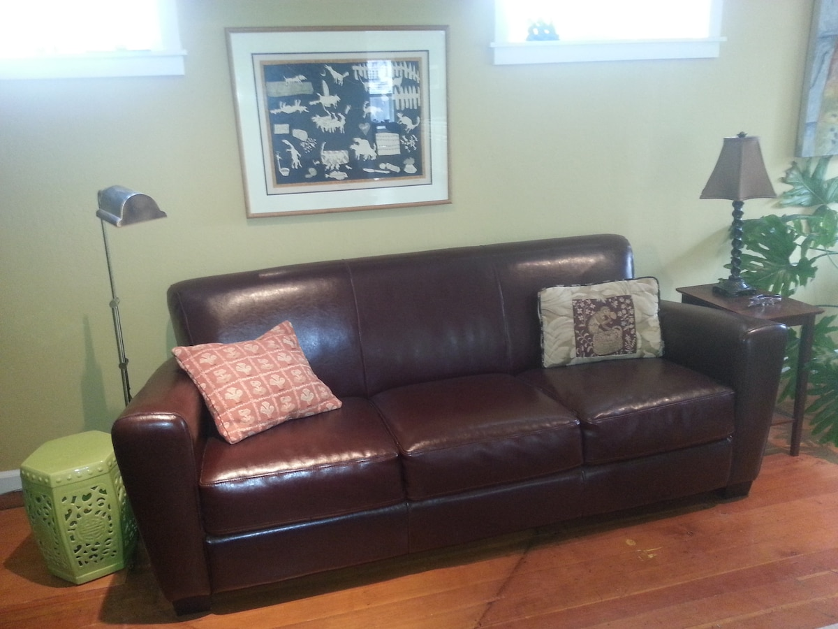 Comfortable leather couch.