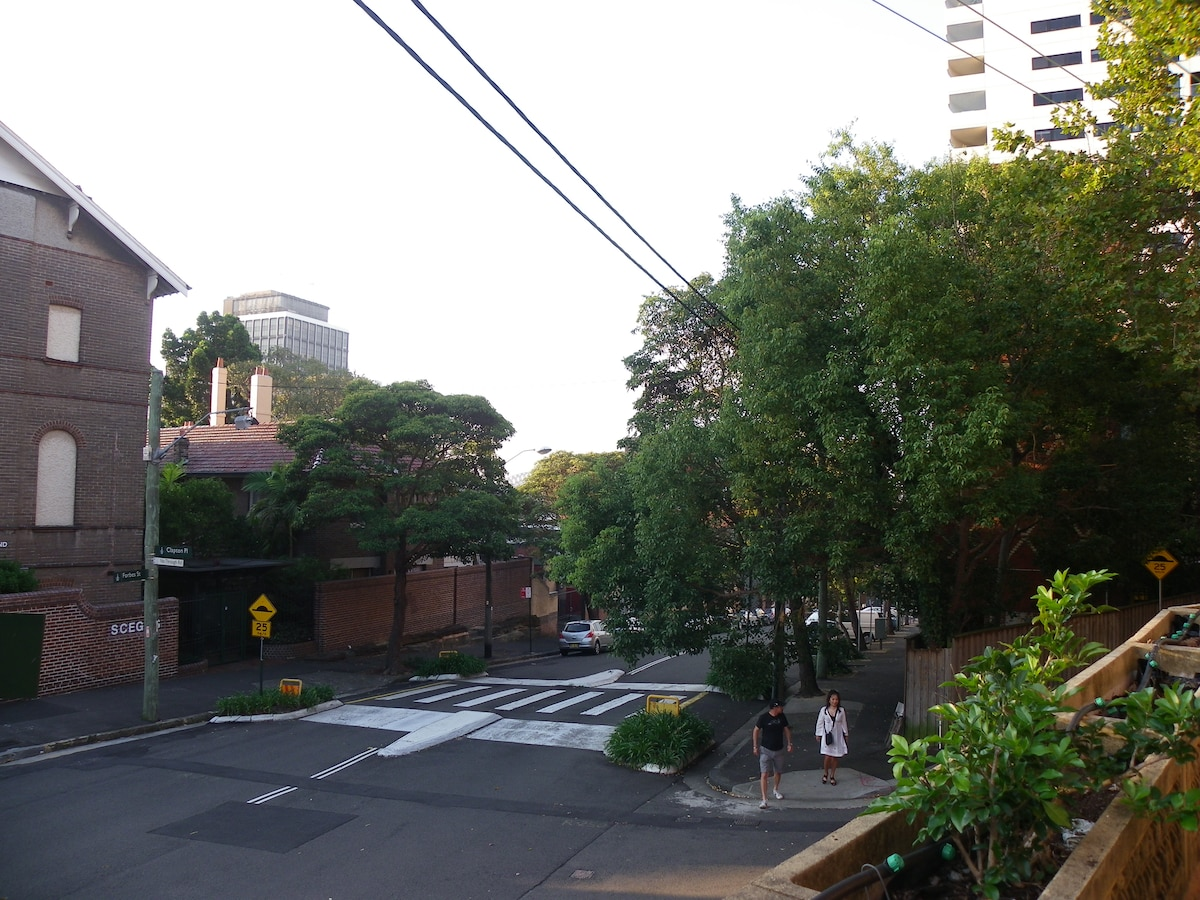 A view of our tree lined street from the balcony.