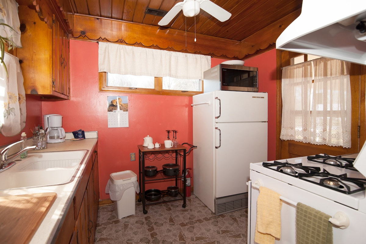 You can prepare a lite snack or a full dinner in your kitchen with all appliances.