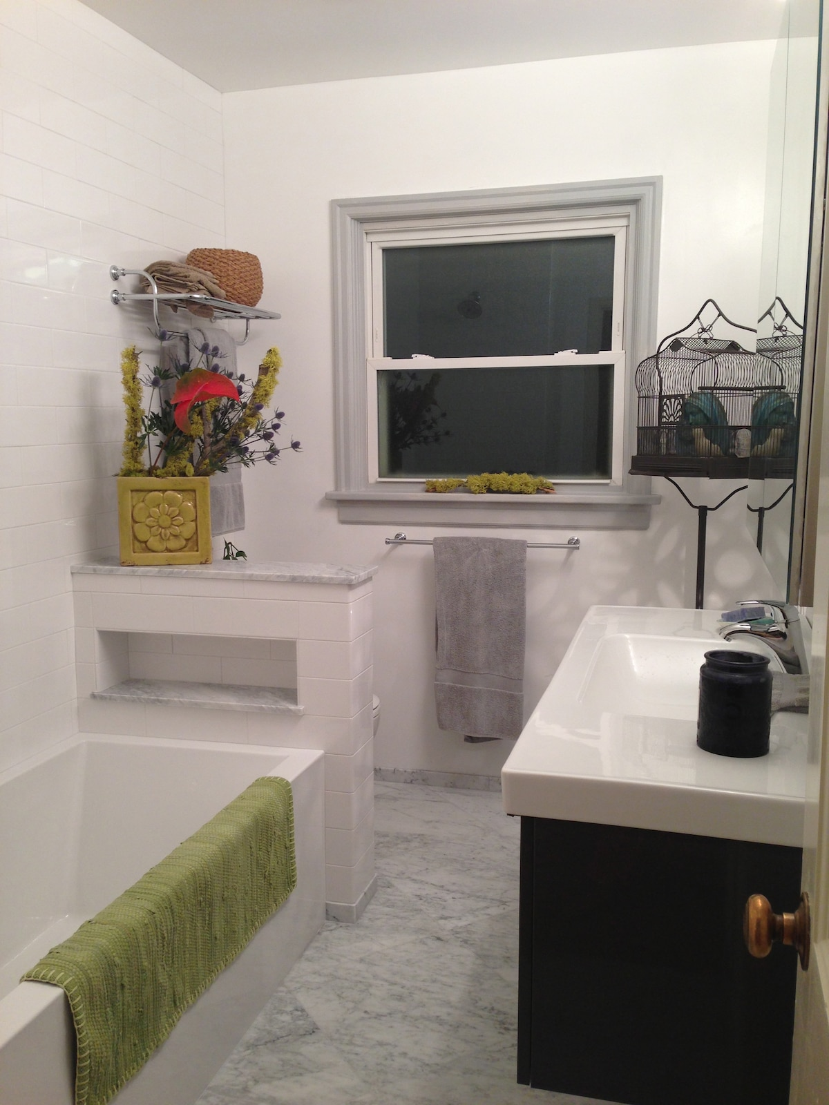 First floor bathroom for (website hidden) Guests.  There is plenty of space for your items while you stay.  Plus fresh towels and epsom salts should you want to take a bath!