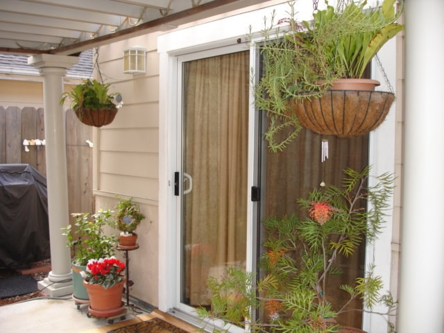 Sunny covered patio with private entrance to studio.