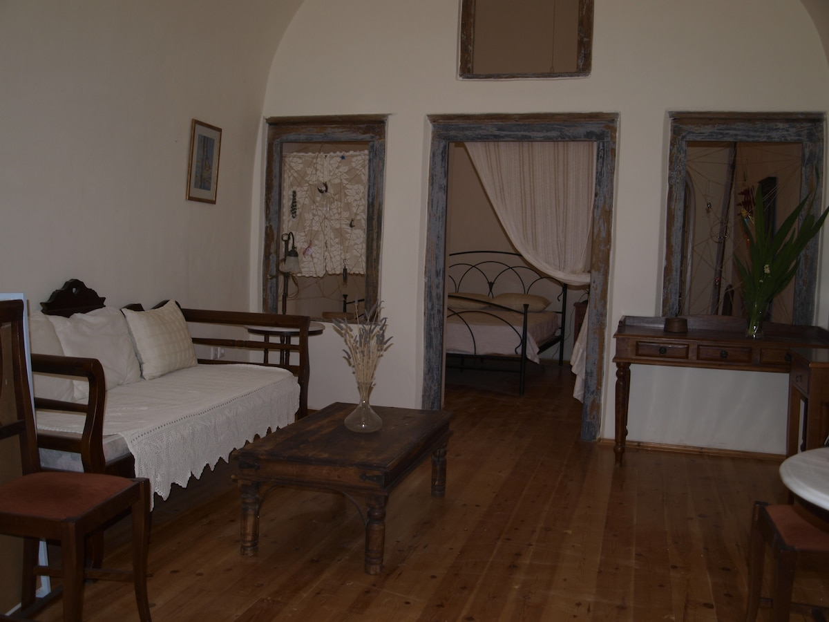 living room and bedroom at the back