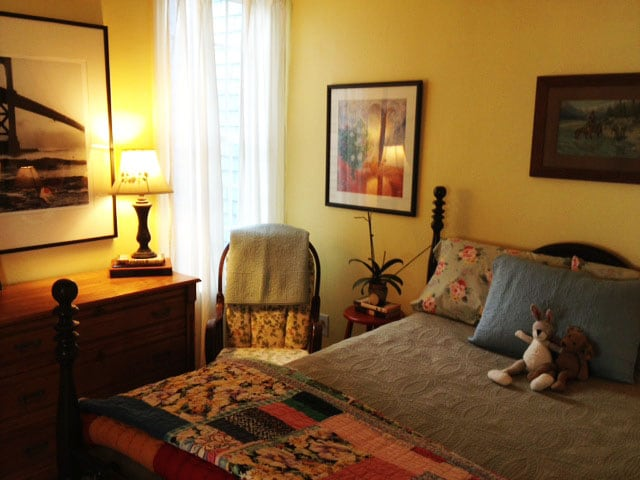 This is the private room (with double bed and private shower/bathroom) that you would stay in.