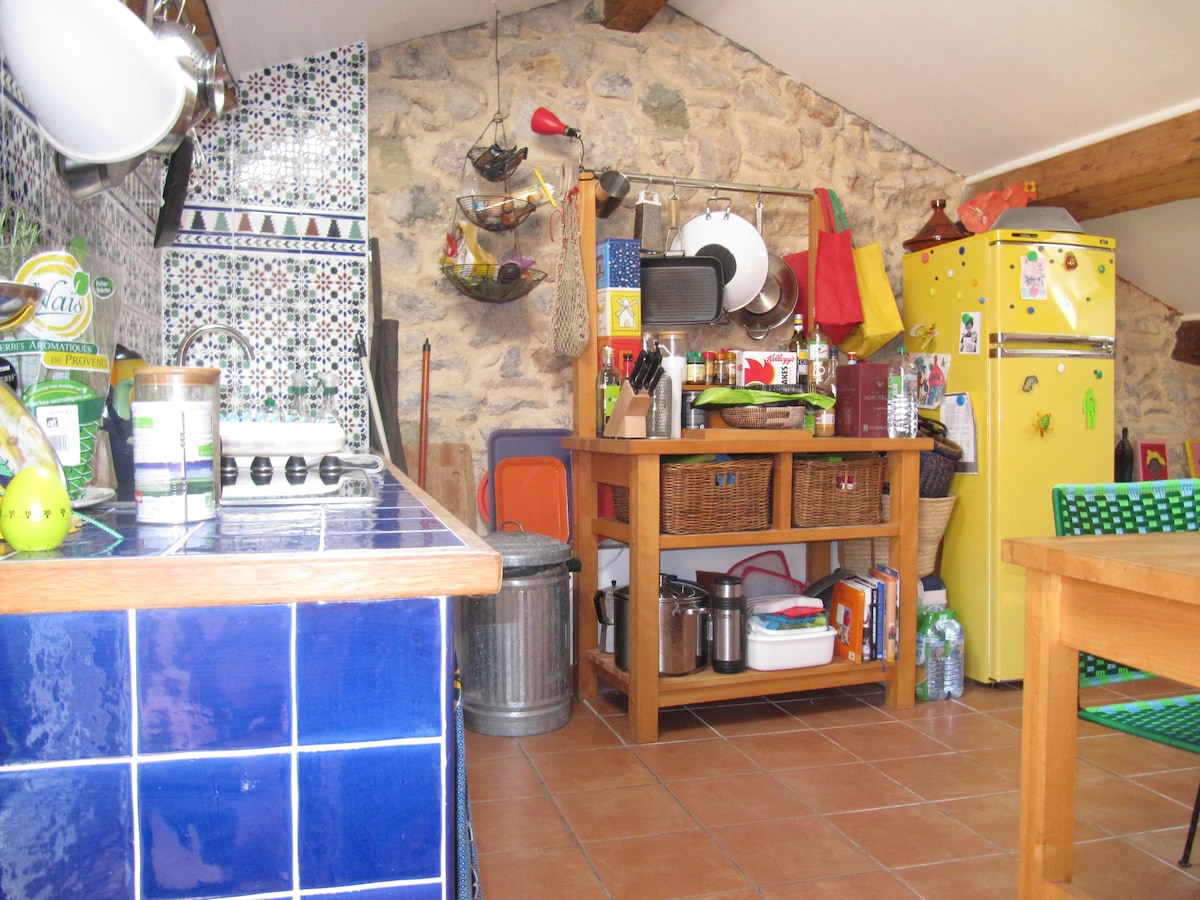 Morrocan tilework and colorful equipment make cooking fun!