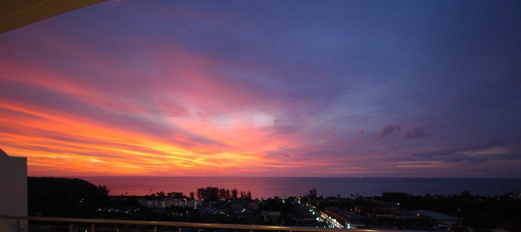 Sunset from the balcony overlooking Karon and the Andaman Sea