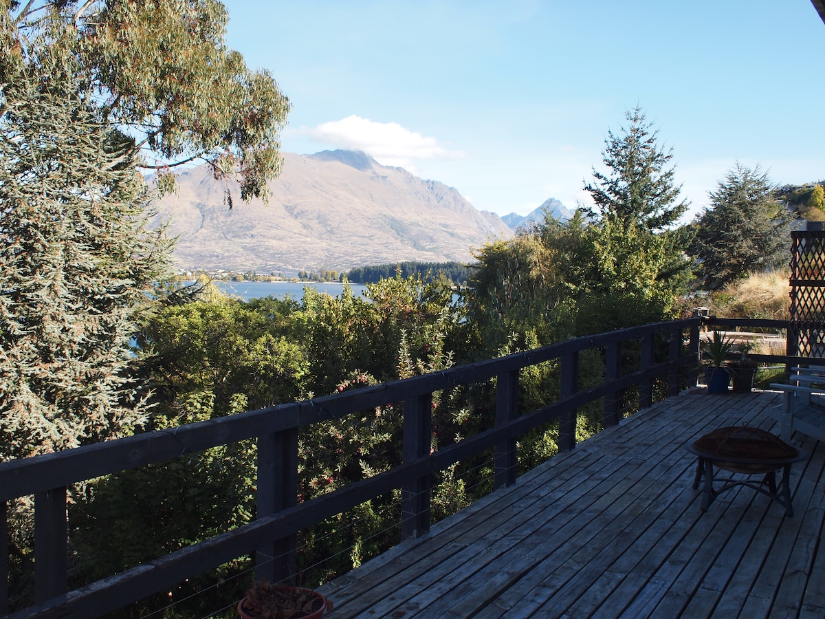 View of Cecil Peak from deck