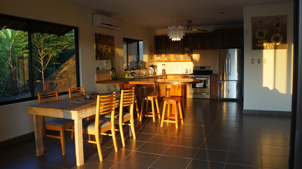 Kitchen with the morning sun shining in.
