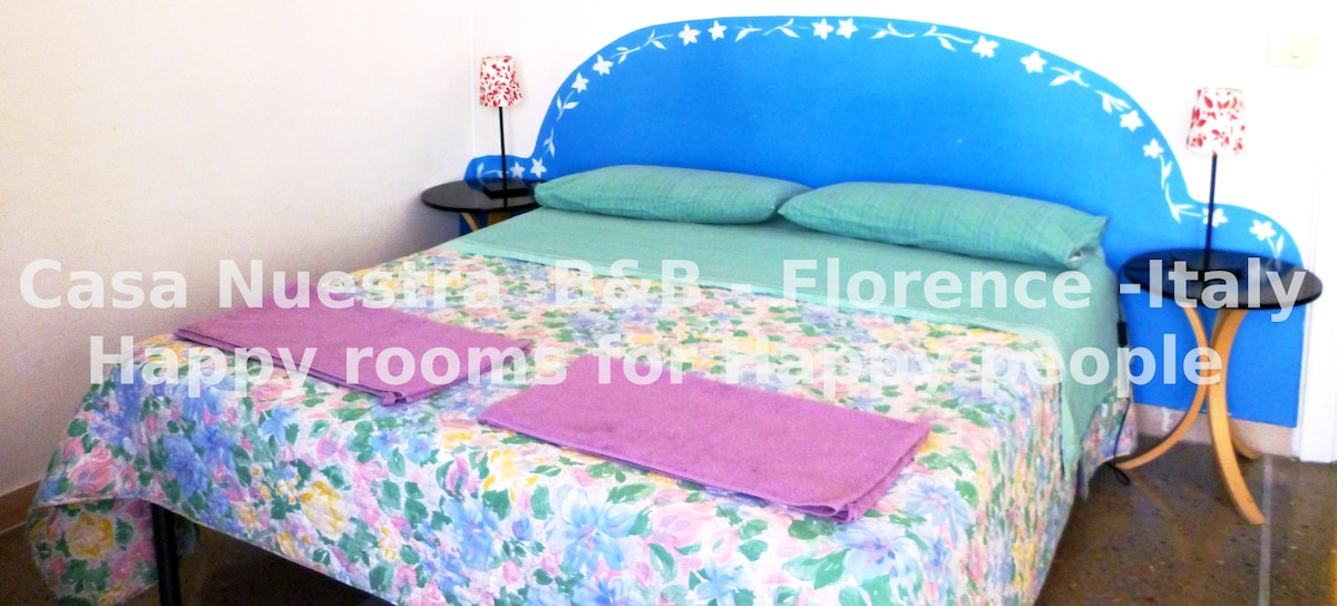 Room ' Lieto'! Sweet double with balcony to Fiesole green hills, A/C on request and Italian breakfast in room! Free Wi Fi in rooms also!
