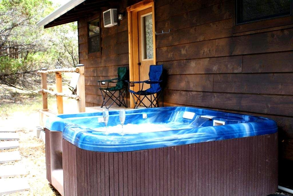 Relax in your private Jacuzzi hot tub while enjoying a glass of wine and gazing at the stars