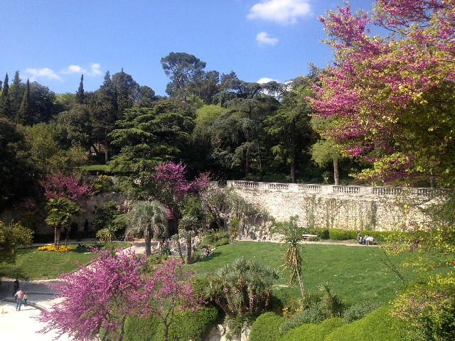 "Walk in the beautiful garden in Nimes ""Les jardins de la Fontaine"""