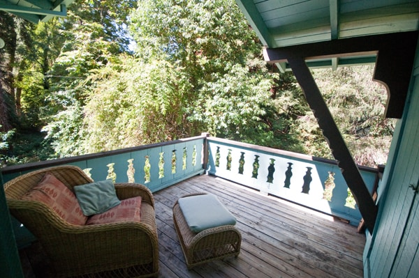 private porch off of master bedroom. views. quiet. great place for alone time.