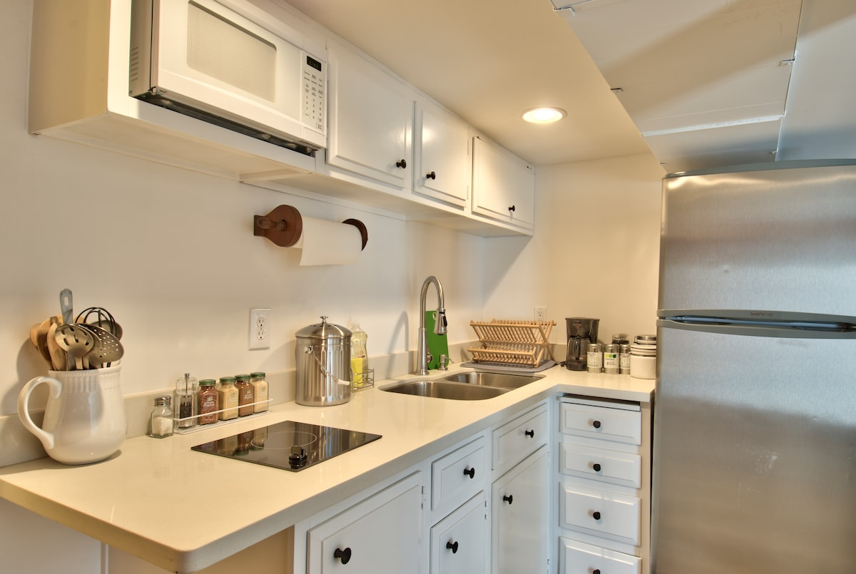 Kitchenette with small stove top, microwave, fridge