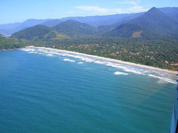 Aerial View of Itamambuca Beach looking East. The house is in the middle of the beach