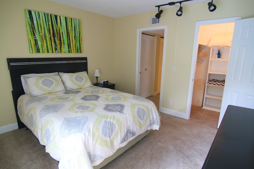 Spacious bedroom has a nice walk in closet (and ironing board and iron).