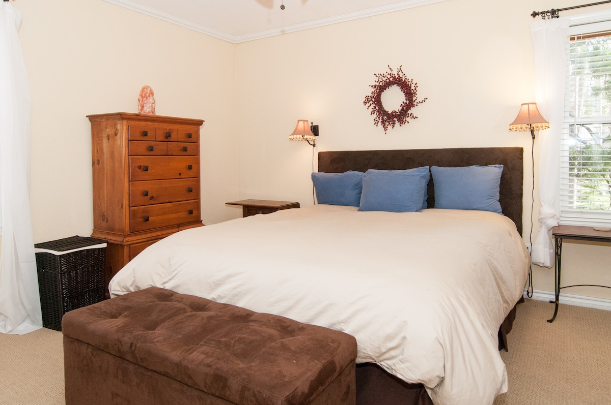 Master bedroom fills with light.
