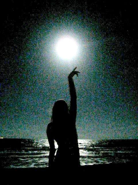 The Moon rises right out of the ocean