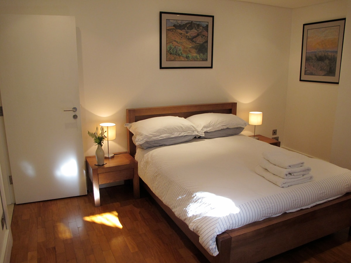 Double, sprung bed with fresh Egyptian cotton sheets.