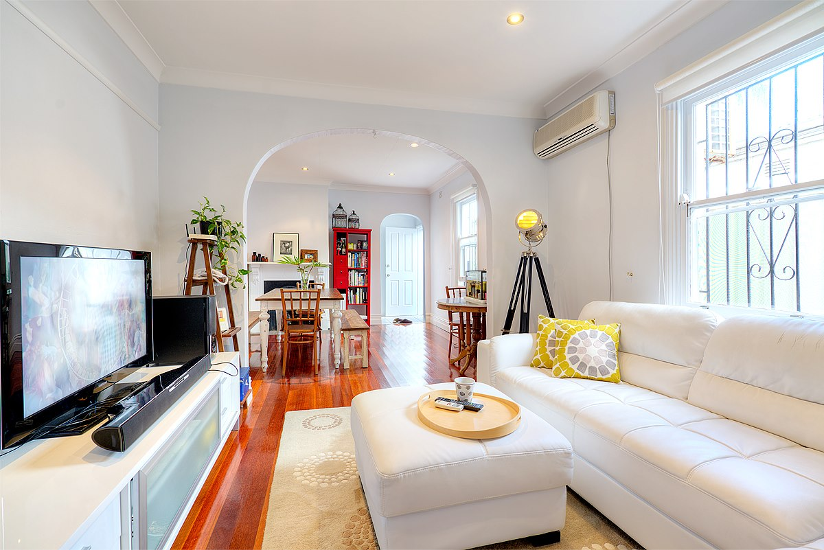 Bright sunny living and dining room.
