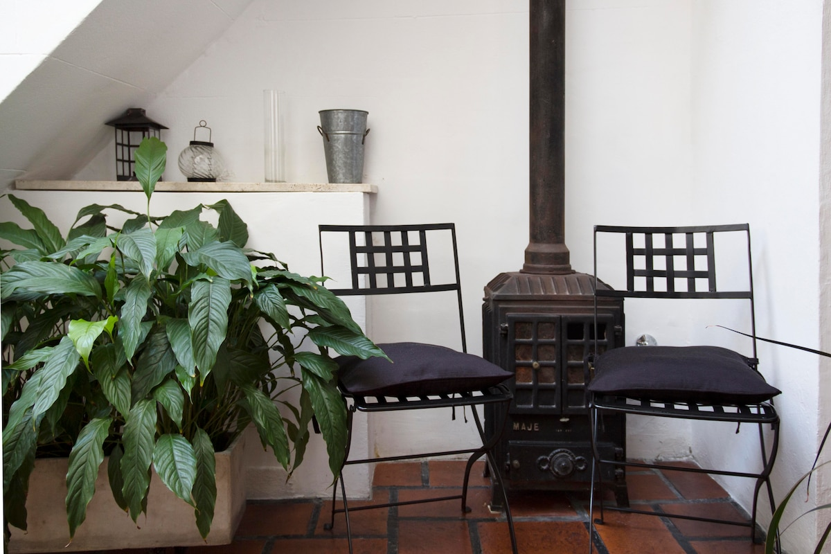 patio with a chimney