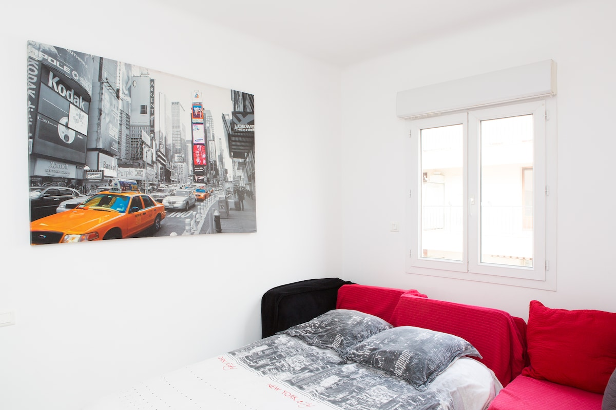 Your bedroom: New-York style. With a real comfy bed.