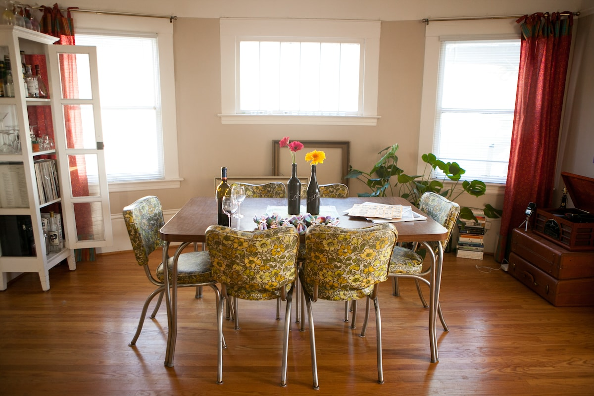 Large, airy dining room.