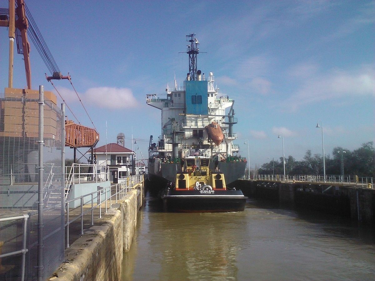 Walk up on The Mississippi River Levee, and follow it to the Industrial Canal.  You can watch ships go through the lock on their way to Lake Ponchatrain and Intercoastal Waterway.