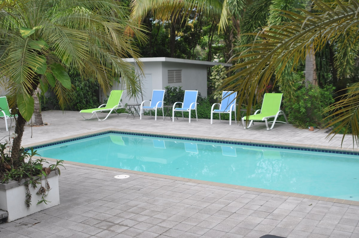 12x24 Pool in a lovely tropical setting where you can listen to the waves a block away