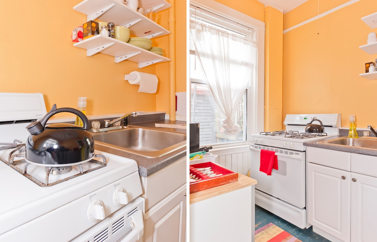 Cook a great meal in the galley kitchen complete with toaster, coffee maker and microwave.