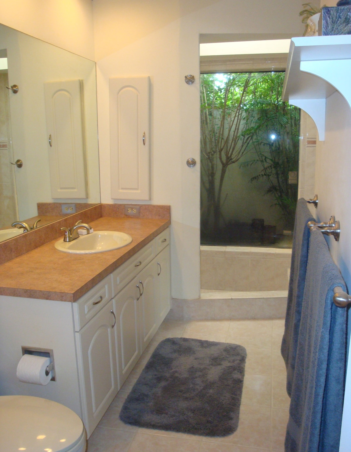 Master bathroom with sunken roman tub  and window over secret garden