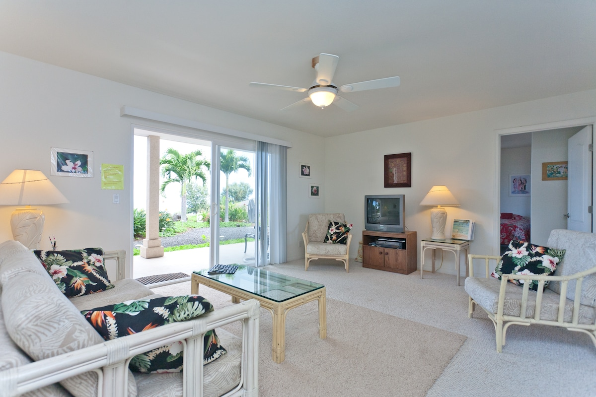 Spacious living room, ocean view with sleeper sofa, TV, DVD, VCR.