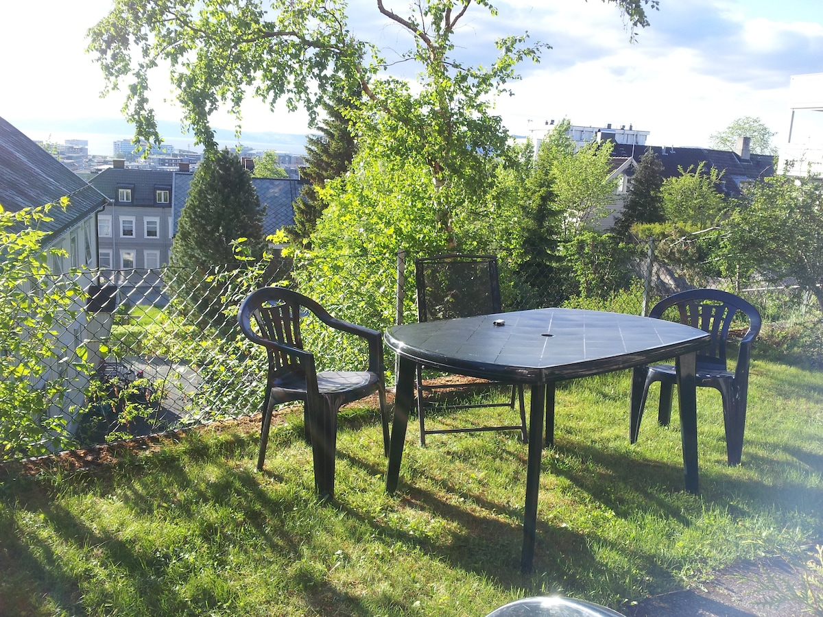 In summertime, there is a place to sit/eat outside.