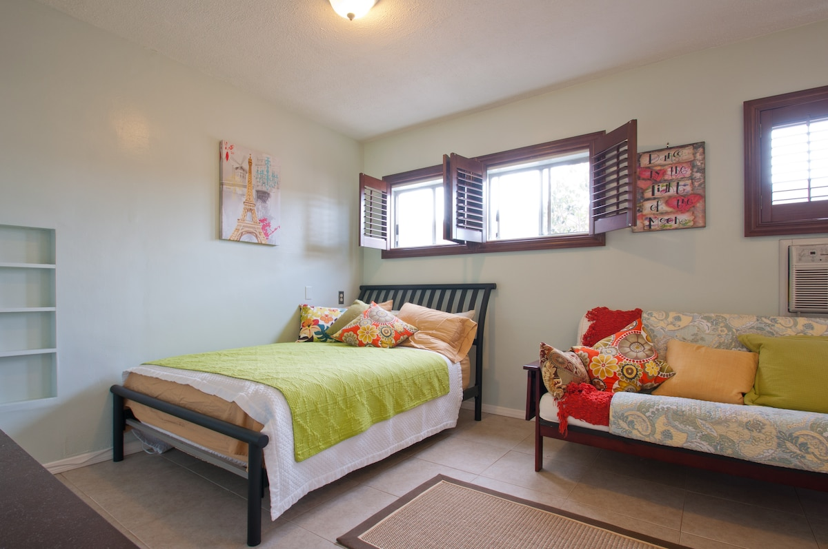 Natural Light shining into room onto Queen Size & Full Size Fold Out Bed.