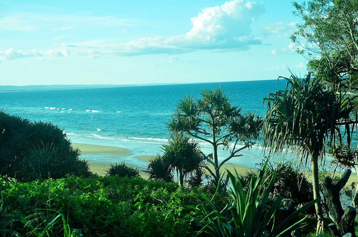 Our beach, 500 metres from our home. Fraser Island in the distance.