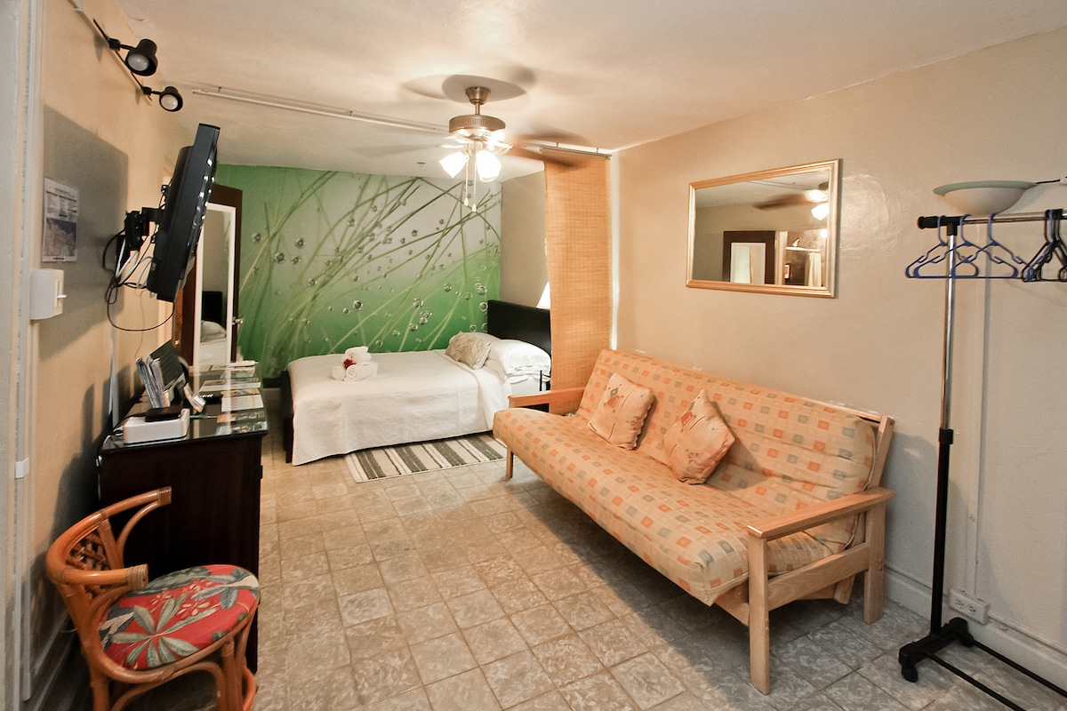 The futon changes into a double bed and the queen bed behind sleeps up to 2.