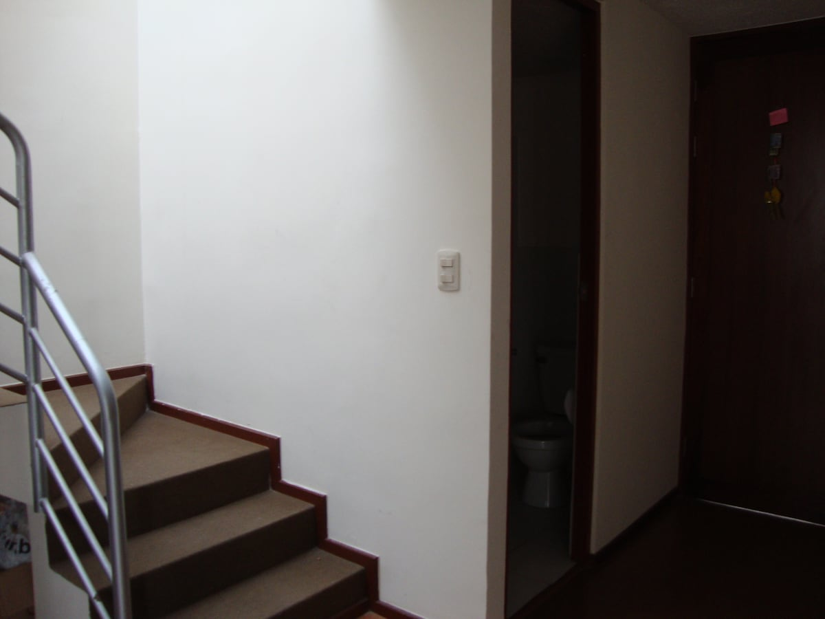 The stairs to get to the up floor.
