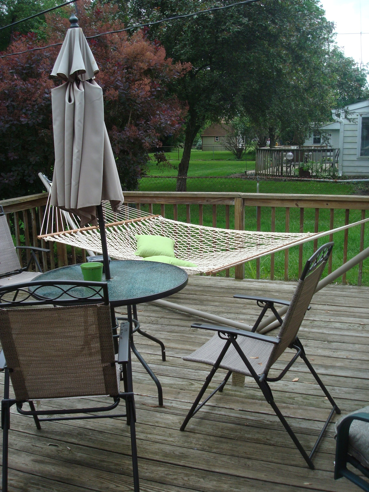 Our deck is perfect for warm sunny days and the hammock is a perfect place to relax.