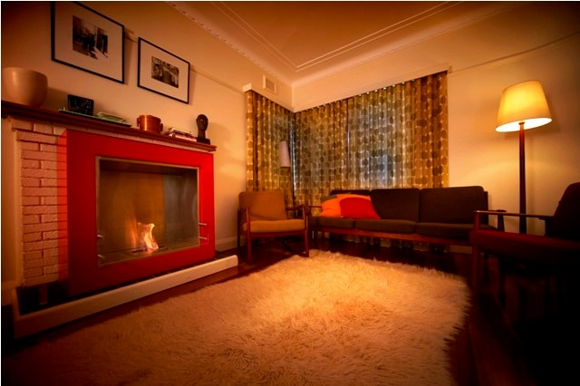 The lounge room and open fire