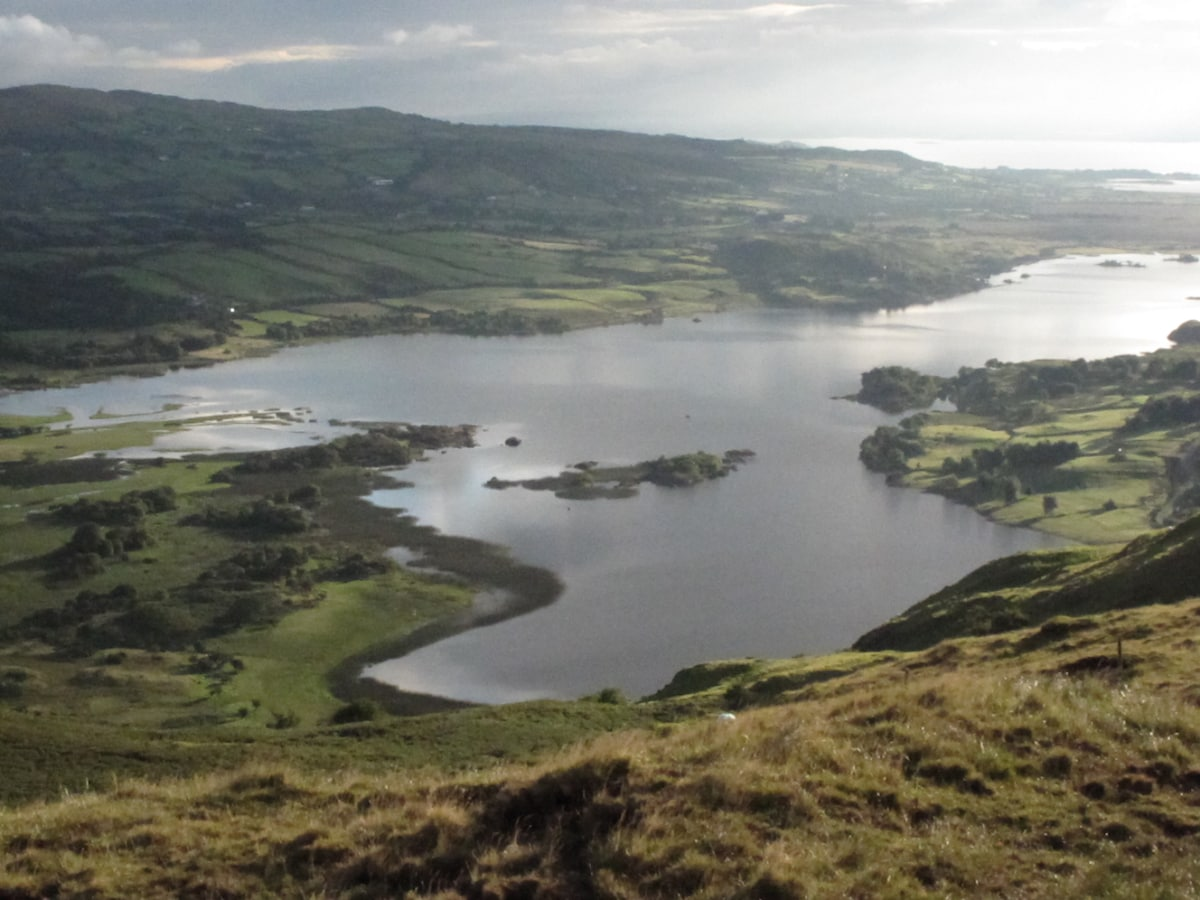 View of Lough Mask towards Tourmakeady from above the house.