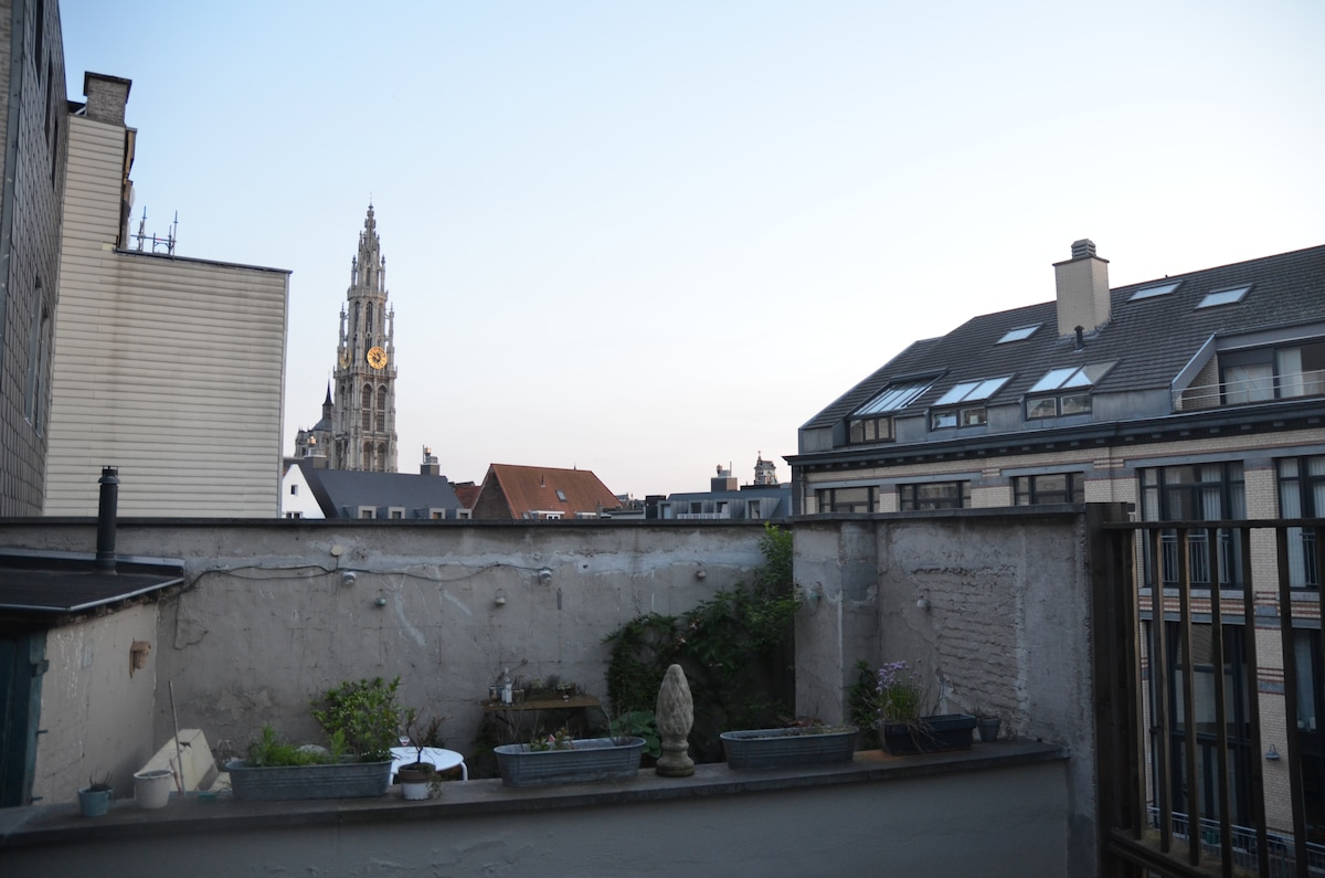 View from the bedroom on biggest cathedral of Belgium and view on our private roof  terrace