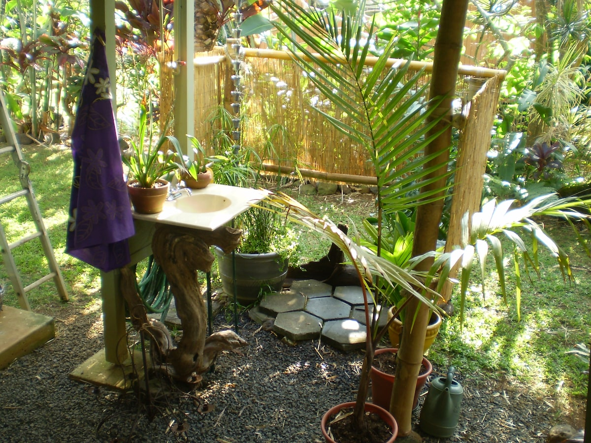 Our Charming outdoor Polynesian  shower.