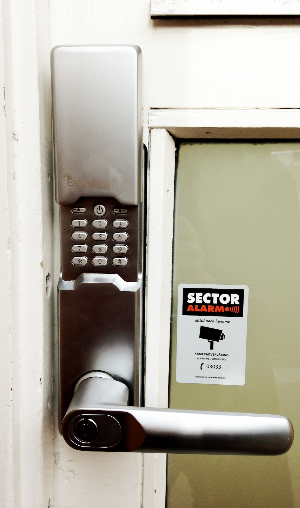 PIN Code Lock to the door. No keys needed.