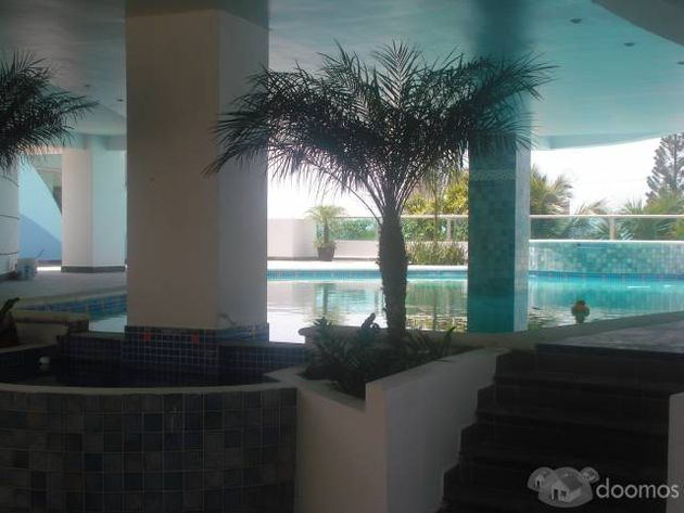 Swimming pool seen from main lobby entrance