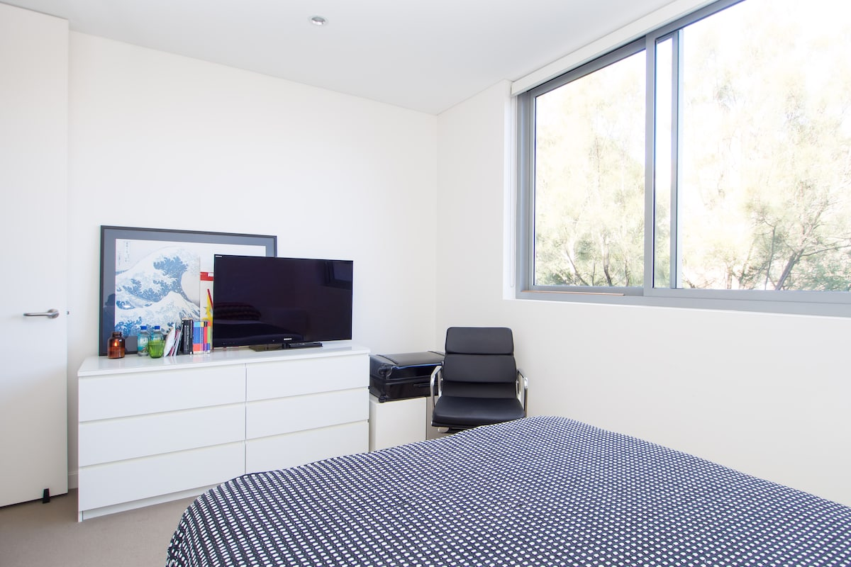 Bright airy room with large windows, southerly aspect