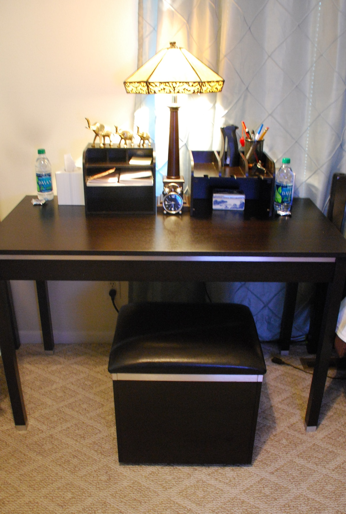 Work Station with plenty of electrical outlets & basic office supplies