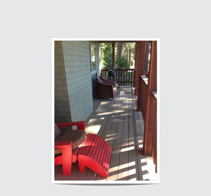 Our front porch deck with beautiful lake views