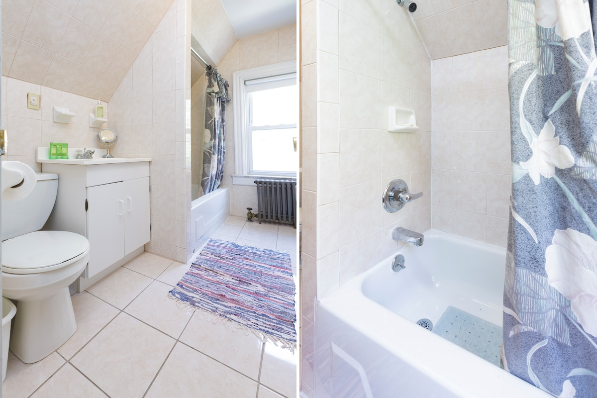 Private bathroom with tub/shower.